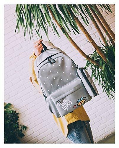SEBAS Home Persönlichkeit Rucksäcke Kreative Cartoon Große Kapazität Leinwand Rucksack Student Fashion Schoolbag (Farbe   grau)