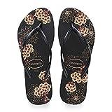 Havaianas Women's Slim Organic Flip Flop Sandal, Black/Grey, 9/10 M US