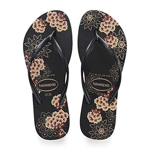 Havaianas Women's Slim Organic Flip Flop Sandal, Black/Grey, 7/8 M US