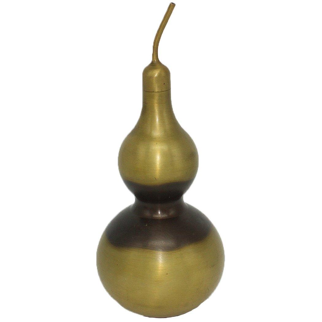 Chinese Folk Fengshui Handmade Retro Wu Lou Luck Gourd (Wu Lu/hu Lu) Collectible Figurines Removable Lid Home Decor Gift (S)