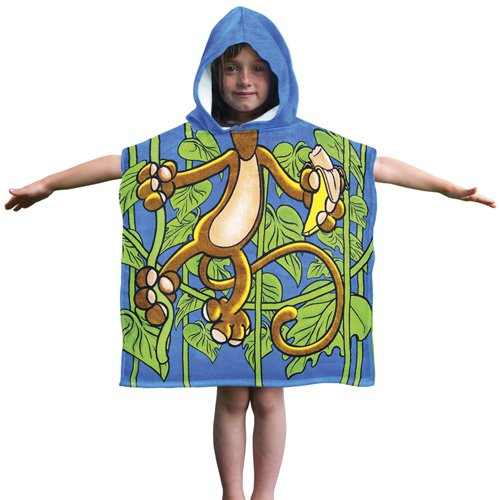 Dawhud Direct Kids Monkey Cotton Hooded Poncho Bath/Beach - Monkey Beach
