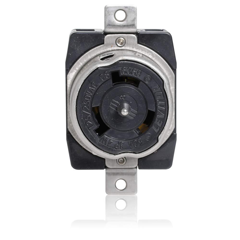 50 Amp Receptacle >> Leviton Cs6369 50 Amp 125 250 Volt Ac Black White Locking Flush