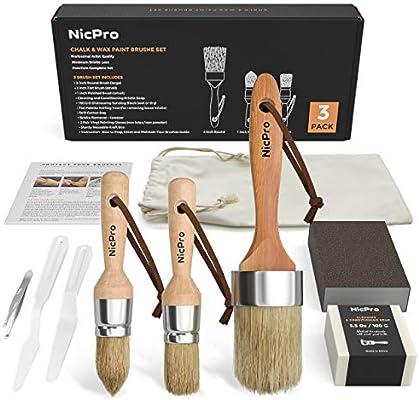 Nicpro 3 Pcs Chalk Wax Paint Brush Set Thick Natural