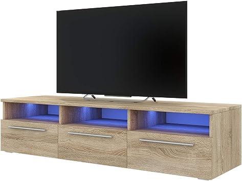 Selsey LAVELLO - Mueble TV con LED/Mesa TV Estilo Nórdico/Mueble para Salón / 140 cm (Marrón Claro): Amazon.es: Electrónica