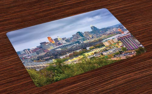 Ambesonne Cincinnati Place Mats Set of 4, Wide Perspective of Suspension Bridge and Apartments Streets Highway Grey Sky, Washable Fabric Placemats for Dining Room Kitchen Table Decor, Multicolor