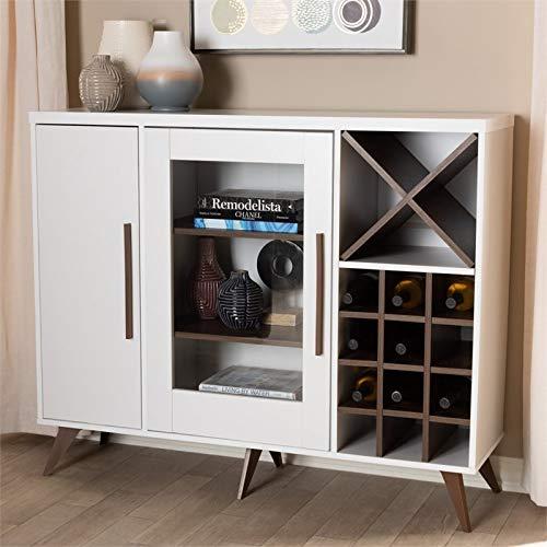 Baxton Studio Pietro Wine Cabinet in White and Brown