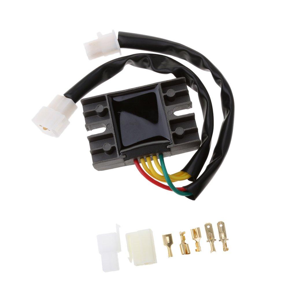 Almencla Spannungsgleichrichter Regulator Kit F/ür Suzuki GN 125 GZ 250 1982 2010 Schwarz