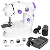 Best Choice Products Portable Speed Adjustable Mini Lightweight Sewing Machine w/Two-Line Design, Pedal & Push Button Switch - White