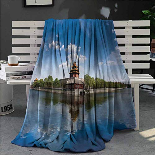 RenteriaDecor Ancient China Soft Blankets Architecture History Plush Microfiber Blanket Great Gifts to Your Family,Friends,Kids 80X60 Inch (History Chair Ladder Back)