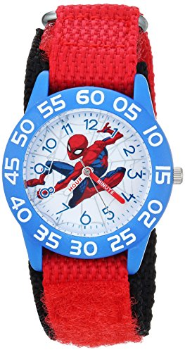 Marvel Boy's 'Spider-Man' Quartz Plastic and Nylon Casual Watch, Color:Red (Model: WMA000182)
