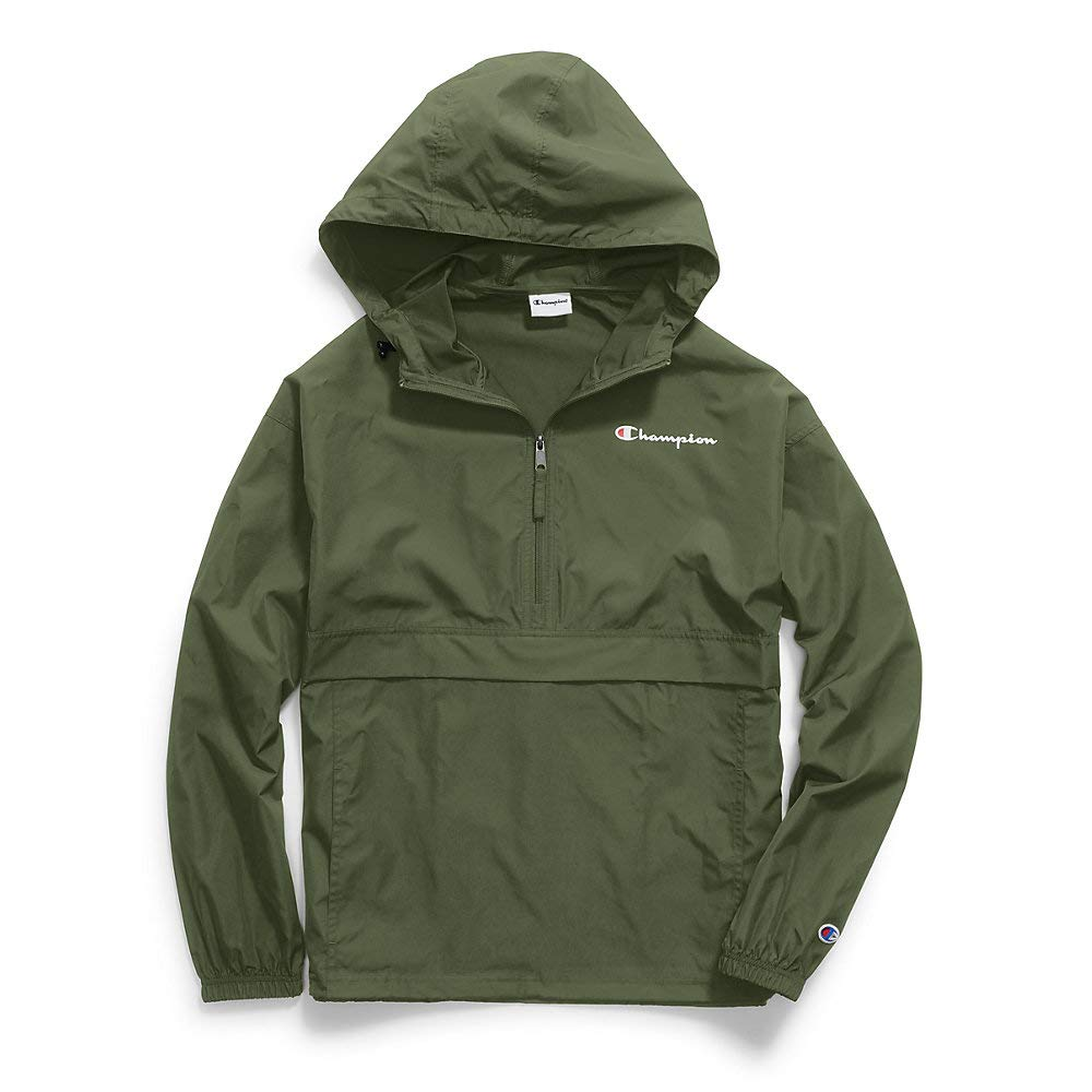 Champion Mens Packable Jacket, L, Cargo Olive by Champion