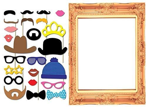SUNSHINEPROP 24PCS Wedding Birthday Party Masks Frame Photo Booth Props Mustache On A Stick