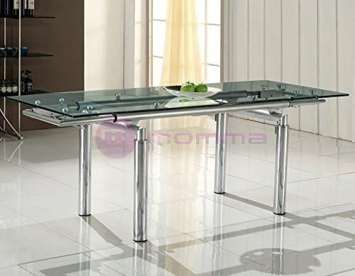 Mesa extensible de comedores con cristal transparente Helios ...