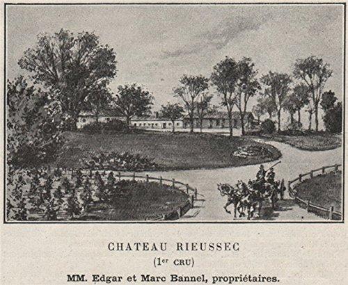 Vin Grand Cru - GRANDS VINS BLANCS. FARGUES. Chateau Rieussec (1er Cru). Bannels. SMALL - 1908 - old print - antique print - vintage print - Gironde art prints