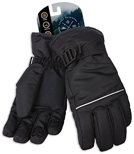 Tough Outdoors Winter Snow & Ski Gloves - Designed for Skiing, Snowboarding, Shredding, Shoveling & Snowballs - Waterproof, Windproof Thermal Shell & Synthetic Leather Palm - Fits Men & Women (Gloves Adult Ski)