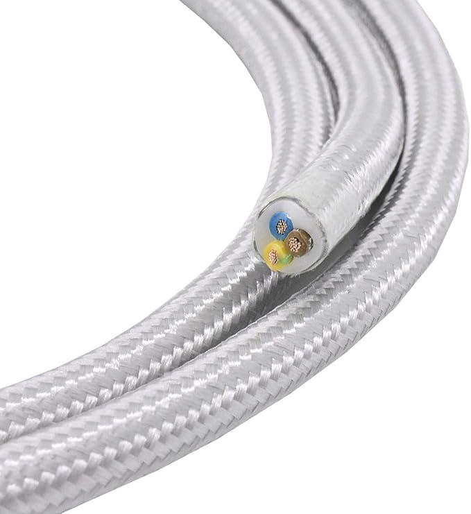 und H/ängeleuchten Stromkabel mit Stoff Lampenkabel 1,20m Textilkabel Silber 3-adrig 0,75mm/² Stoffkabel f/ür Pendel
