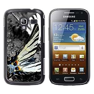 TopCaseStore / la caja del caucho duro de la cubierta de protección de la piel - Butterfly Nature Black White Stripes Grey - Samsung Galaxy Ace 2 I8160 Ace II X S7560M