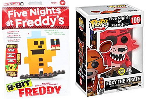 Scary Clown Jack In The Box (Funko Pop! Five Nights At Freddy's Glows In The Dark Foxy The Pirate Exclusive Figure + 8-Bit Freddy Blind Bag Construction Set)