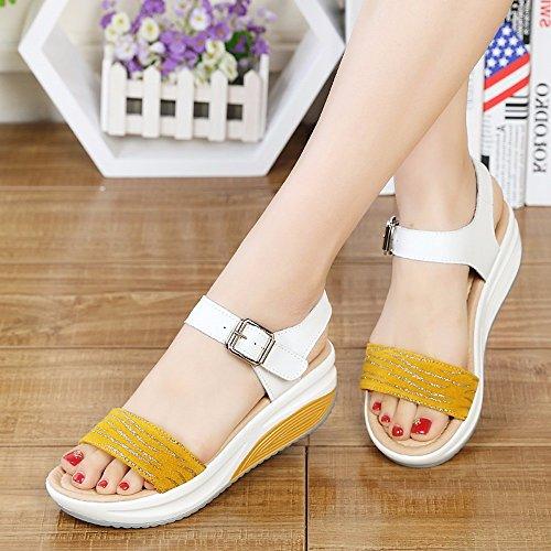 Shoes Damas de Verano Pendiente con Open Toe Sandalias Calzado Casual Sandalias Damas Inferior Grueso 5531--Amarillo