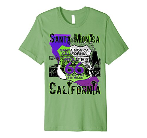 Mens Santa Monica California Route 66 Premium Tee Shirt Large - Fashion Island Santa