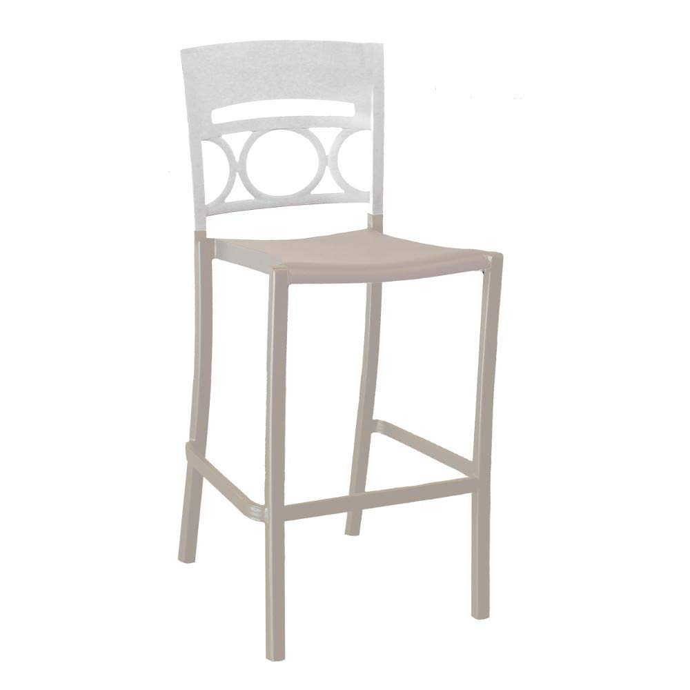 Grosfillex US456096 Moon Stacking Barstool, Armless, Glacier White/Linen (Case of 2)