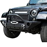 LYON Practical Simple Black Texture Front Bumper with License Plate Bracket and D-ring and Winch Plate for All Models of Jeep Wrangler from 2007 to 2019