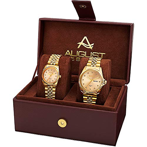 August Steiner AS8201 Matching His and Hers Glamorous Watch Gift Set- Stainless Steel Bracelet - Perfect Gift (Gold & Gold)