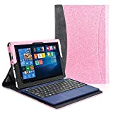 "ACdream Case Fits 2018 RCA Cambio 10.1"" W101SA23T1S / W101SA23T2, Multiple Angle Viewing with Pocket Business Cover Case for 10.1 inch RCA Cambio 2-in-1 Window Tablet with Kickstand, Glitter Pink"