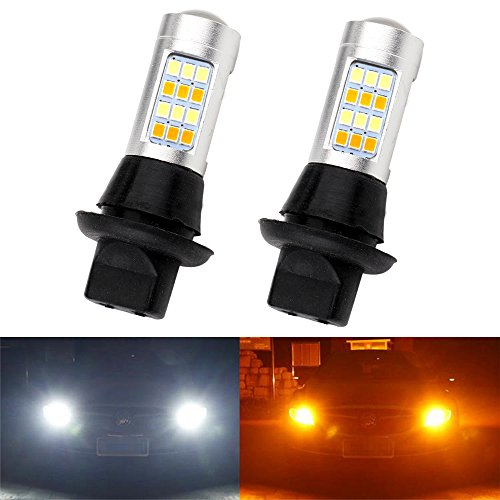 OUSUC Automobile Dual-color LED Bulbs Bright 7440 Base White/Amber Switchback LED DRL/Turn Signal Light Canbus Error Free 2835 42SMD 12V 100W Load Resistors 2Pcs ()