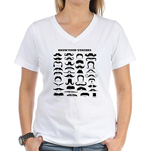 CafePress Know Your Staches T-Shirt Women's V-Neck T-Shirt - L White