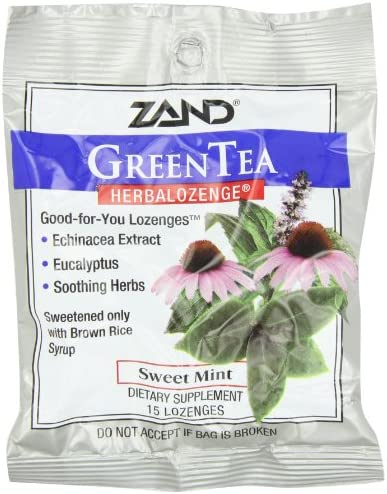 Zand HerbaLozenge, Green Tea Sweet Mint, 15 Count Pack of 3