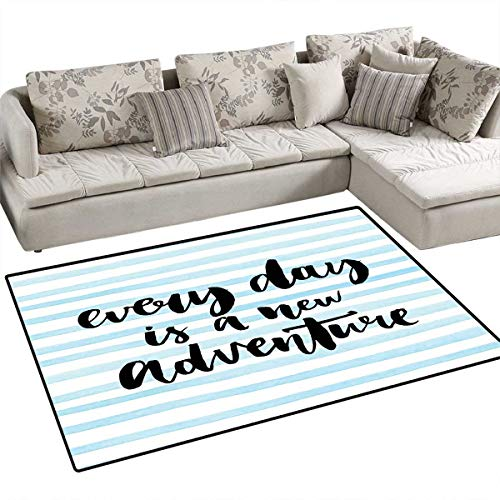 (Adventure Anti-Static Area Rugs Every Day is a New Adventure Quote Inspirational Things About Life Artwork Children Kids Nursery Rugs Floor Carpet 4'x6' Baby Blue)