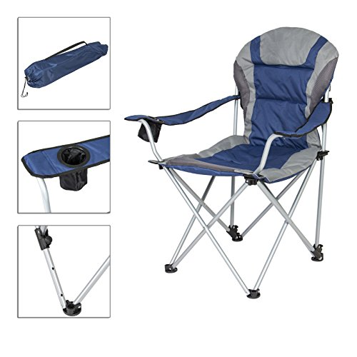 Blue Backpack Padded Beach Chair Portable Fishing Chair With Folding And Insulated Cup Holder TSE018A2