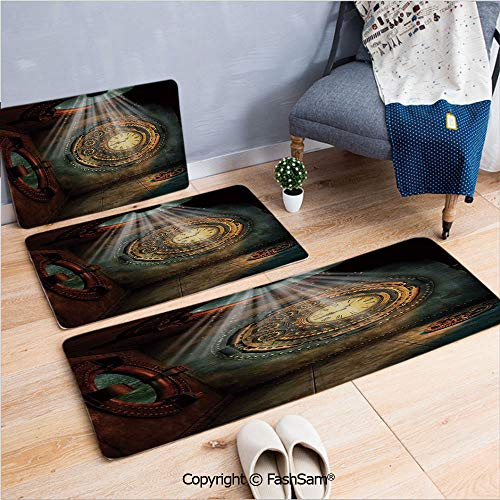 3 Piece Non Slip Flannel Door Mat Fantasy Scene with Clock Dream Sky from The Ceiling Fiction Art Stars Indoor Carpet for Bath Kitchen(W15.7xL23.6 by W19.6xL31.5 by W17.7xL53)