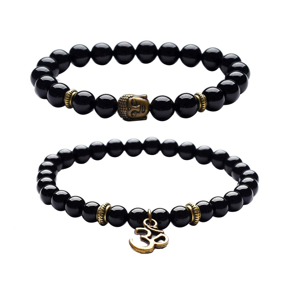 Powerfulline Exquisite 2Pcs//Set Vintage Unisex Beads Buddha Head Yoga OM Pendant Bracelets Jewelry Gift Sale