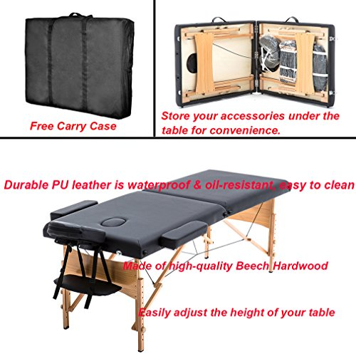 New Black 84'' Portable Massage Table w/Free Carry Case T1 Chair Bed Spa Facial by BestMassage (Image #3)