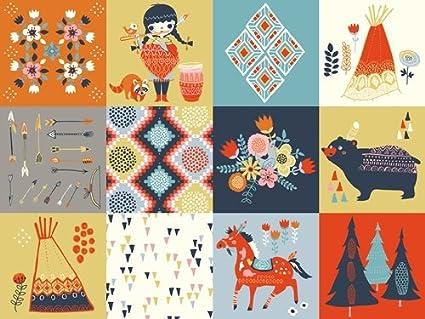 Patch - Wildland - Birch Fabrics - ORGANIC COTTON - MI-01 - Flowers Tepees Horses (Yard)
