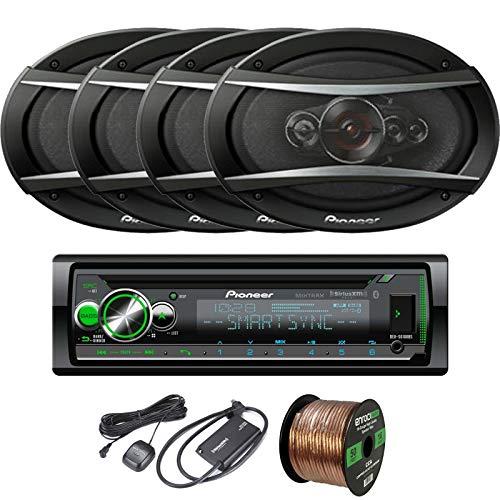 EnrockAudio Pioneer DEH-S6100BS CD/Bluetooth SiriusXM Ready Single-DIN Receiver, 4 x 6x9 5-Way 650W Speakers, 16-Gauge Speaker Wire, SiriusXM Satellite Radio Connect Vehicle Tuner Kit