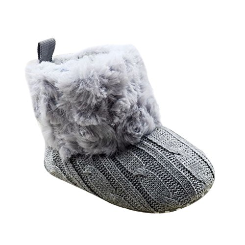 Image of Weixinbuy Baby Girls Knit Soft Fur Winter Warm Snow Boots Crib Shoes