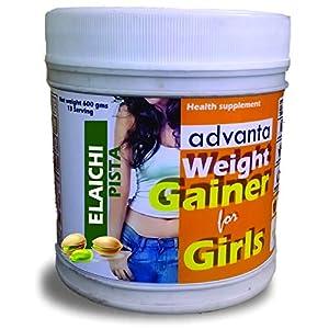 ADVANTA MASS WEIGHT GAINER PROTEIN POWDER SUPPLEMENT FOR GIRLS WOMEN [ELAICHI PISTA] 600G