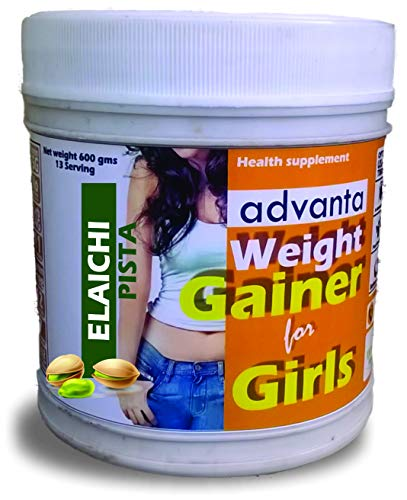ADVANTA MASS WEIGHT GAINER PROTEIN POWDER SUPPLEMENT FOR GIRLS WOMEN [ELAICHI PISTA] 600G 2021 July Specially formulated for women/girls.as per RDA guidelines ICMR 2010. Extra 500 calories/day to help you gain upto one pound/week. Use as directed on the label.