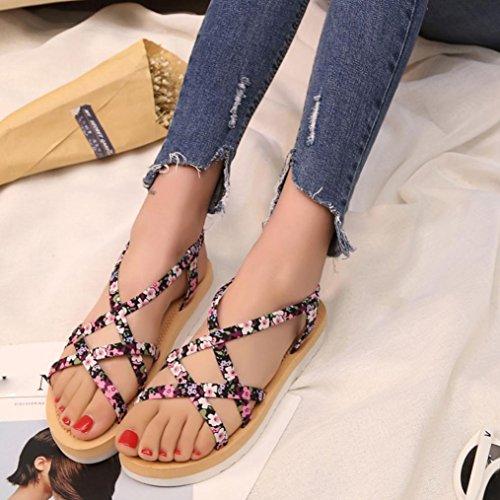 LANDFOX Las mujeres de moda de verano Flip Flops Playa sandalias bandas de cuerda plana zapatos Rosado
