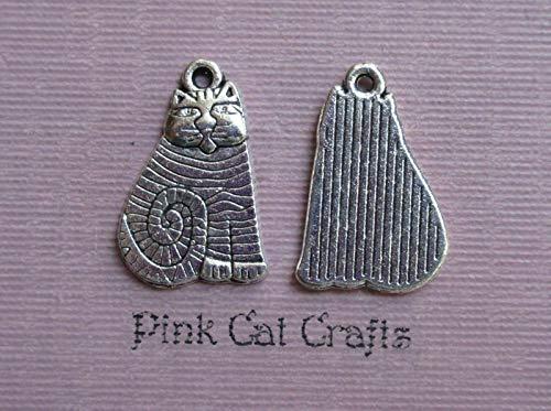 10 x Tibetan Silver CAT Cute Tabby Striped Feline 20mm Charms Pendants Beads
