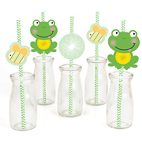 (Froggy Frog Paper Straw Decor - Baby Shower or Birthday Party Striped Decorative Straws - Set of 24)