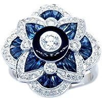 Fashion 925 Silver Blue Sapphire Flowers Ring Women Wedding Bridal Gifts Jewelry by Siam panva (6)
