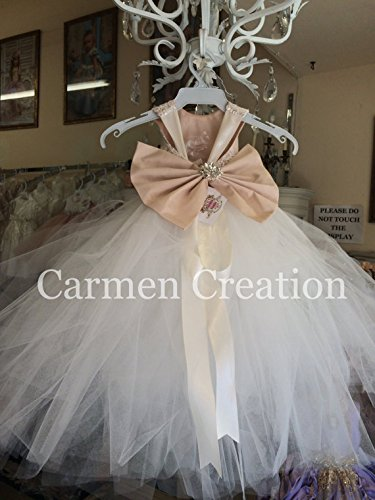 Mini Bride Flower Girl Dress Blush/Ivory by Carmen Creation