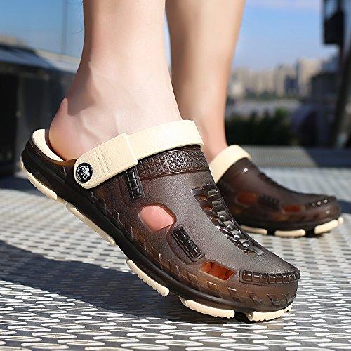 foro spiaggia pantofole Brown 44 acqua da scarpe scarpe estivi spiaggia uomini sandali A da trascinato in viaggio Baotou semi fankou traspirante scarpe Il giocare qgU8wz