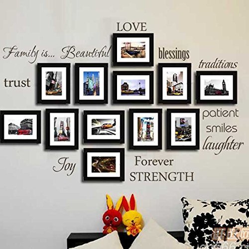 Family Wall Decal~~~ Set of 12 Family Words Quote Vinyl Family Wall Sticker Picture Wall Decal Family Room Art Decoration (The Picture. No photos included)