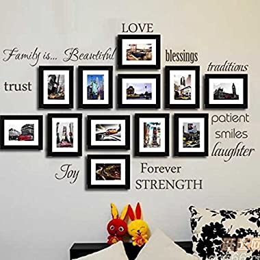 LUCKKYY® Family Wall Decal~~ Set of 12 Family Words Quote Vinyl Family Wall Sticker Picture Wall Decal Family Room Art Decoration (The Picture. No photos included)