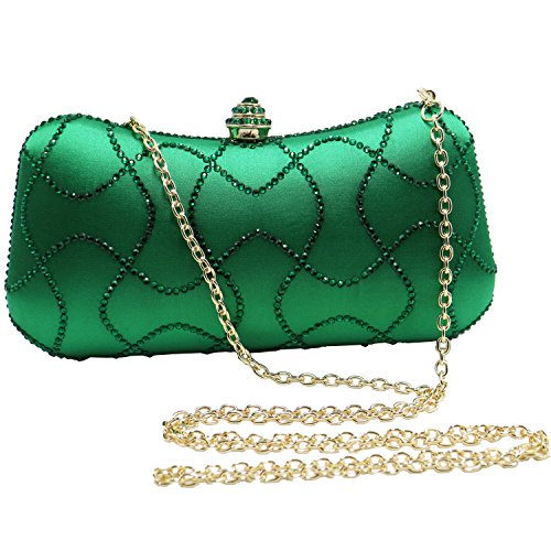 Bridal Womens emerald Flower Wave for Clutch DMIX Bag Wedding Crystal Evening Prom dYHxAfwP